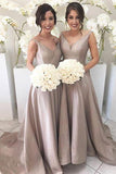 Silver Long A Line Taffeta Bridesmaid Dresses, Best Elegant V neck Bridesmaid Gown PFB0061