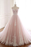 Pink Spaghetti Straps Tulle Prom Dress with Lace Appliques, A Line Formal Evening Party Dresses