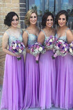 A Line Chiffon Beading Bridesmaid Dresses,Spaghetti Straps Long Bridesmaid Dress PFB0065