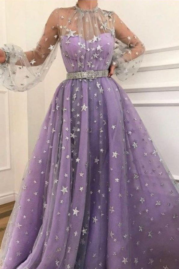 Long Sleeve A-line Sparkly Star Lace Lilac Long Prom Dresses