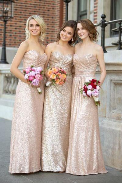 Gold Sequin Sweetheart Bridesmaid Dresses,Strapless Long Bridesmaid Dress PFB0066