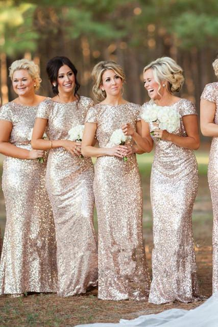 Sexy Short Sleeves Sequins Bling Long Bridesmaid Dresses 2019 PFB0067