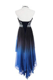 High Low Halter Sleeveless Beading Chiffon Ombre Prom Dress PFP0754