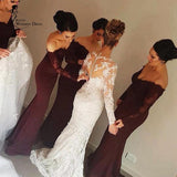 Mermaid Long Sleeves lace off the Shoulder Sexy Bridesmaid Dresses For Weddings PFB0068