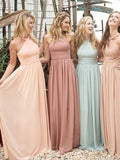 Beautiful Long Chiffon A Line Cheap Bridesmaid Dresses 2019 for Weddings PFB0069