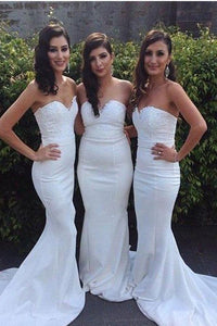 White Long Mermaid Beaded Sweetheart Sheath Bridesmaid Dresses PFB0071