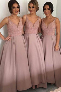 Beading V-neck Pink Beautiful Long Bridesmaid Dress Bridesmaid Gowns PFB0072