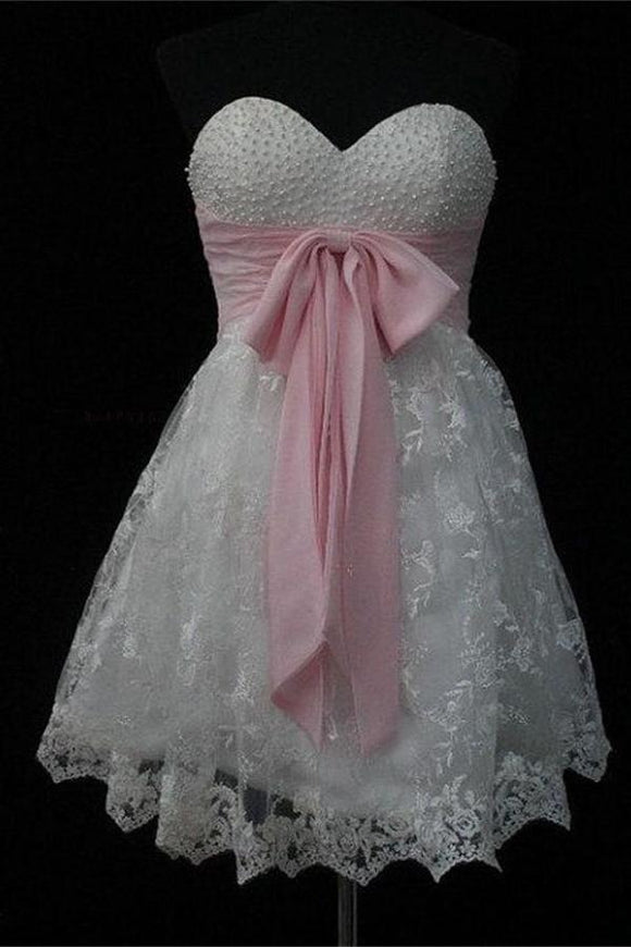 Elegant Short Beaded Lace Homecoming Dresses With Pink Belt PFB0073