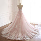 Pink Spaghetti Straps Tulle Prom Dress with Lace Appliques, A Line Formal Evening Party Dresses PFP0493