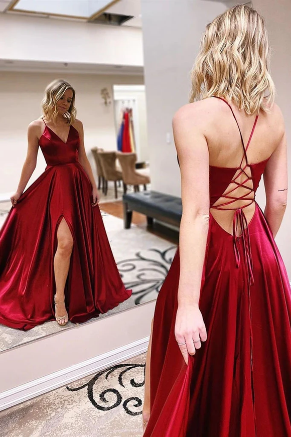 Promfast V Neck Burgundy Long Prom Dresses With Slit, Formal Evening Dresses PFP1822