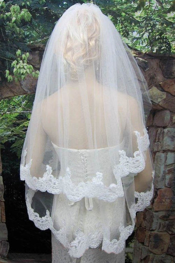 2T Tulle White Lace Veil with Comb