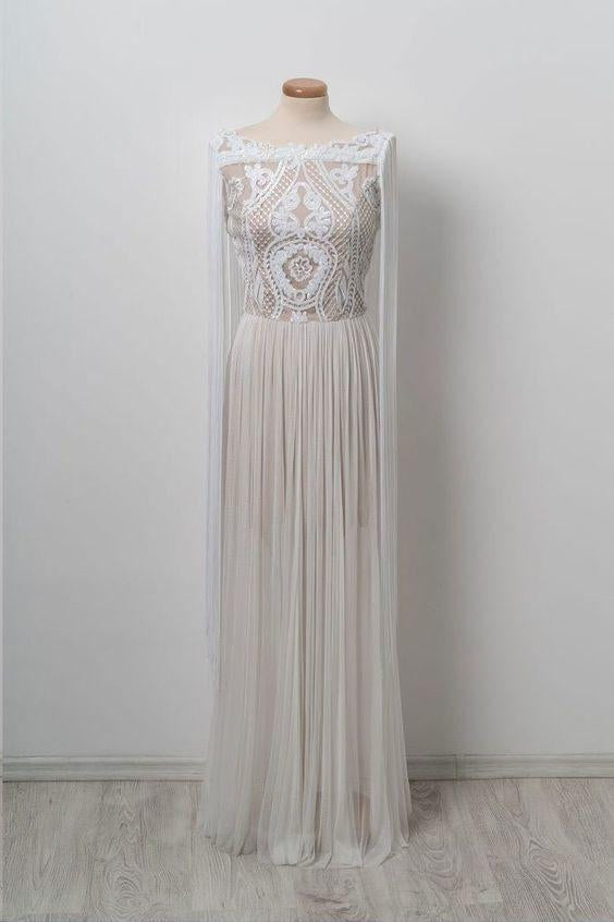 Unique Bateau Floor-length Chic Long Off White Prom Dress PFP0007