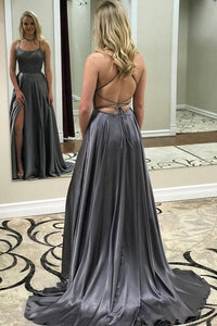 Grey Spaghetti Strap A Line Prom Dress Sexy Long Split Evening Dresses