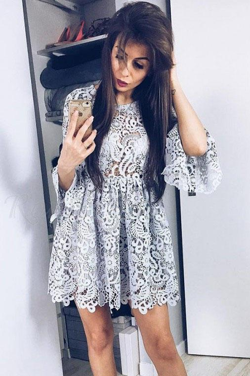 A-Line Crew Long Sleeve Above Knee Grey Lace Homecoming Dress PFH0058