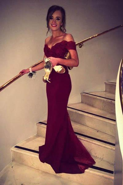 Fashion Design Off Shoulder Mermaid Burgundy Long Party Prom Dresses