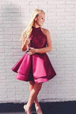 Two Piece A Line Burgundy Lace Top Homecoming Dresses PFH0060