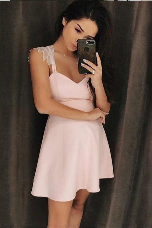 Simple A-Line Spaghetti Straps Short Pink Homecoming Dress with Appliques PFH0061