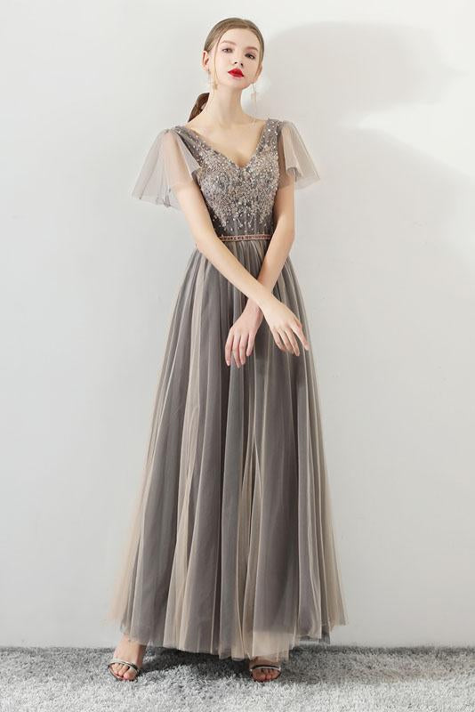 A Line Tulle Long Appliques Beaded Prom Dresses, Grey Formal Evening Dress