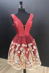 Charming A-Line V Neck Sleeveless Red Short Homecoming Dress With Lace Appliques PFH0064