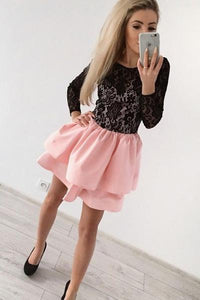 A-Line Jewel Long Sleeves Pink Short Homecoming Dress with Black Lace PFH0066
