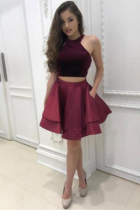 Cheap 2 Pieces Simple Short Burgundy Satin Homecoming Dresses For Teens PFH0067