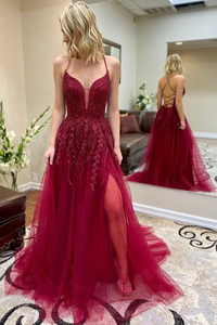 Promfast Spaghetti Straps Burgundy Lace Appliques Prom Dresses, Cheap Evening Dresses PFP1823
