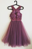 Grape Lace Top A Line Short Tulle Cheap Homecoming Dress PFH0069