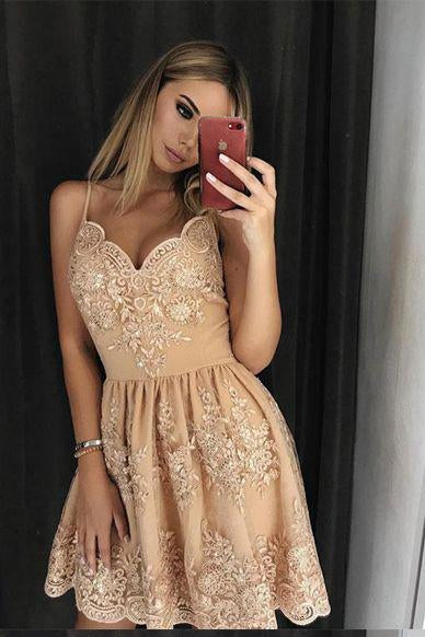 Stylish A-Line Spaghetti Straps Short Homecoming Dress with Lace Appliques PFH0070