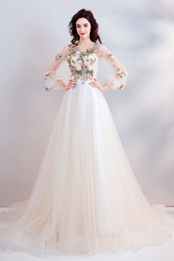 Pretty A Line Long Sleeves Tulle Appliques Prom Dresses With Flowers