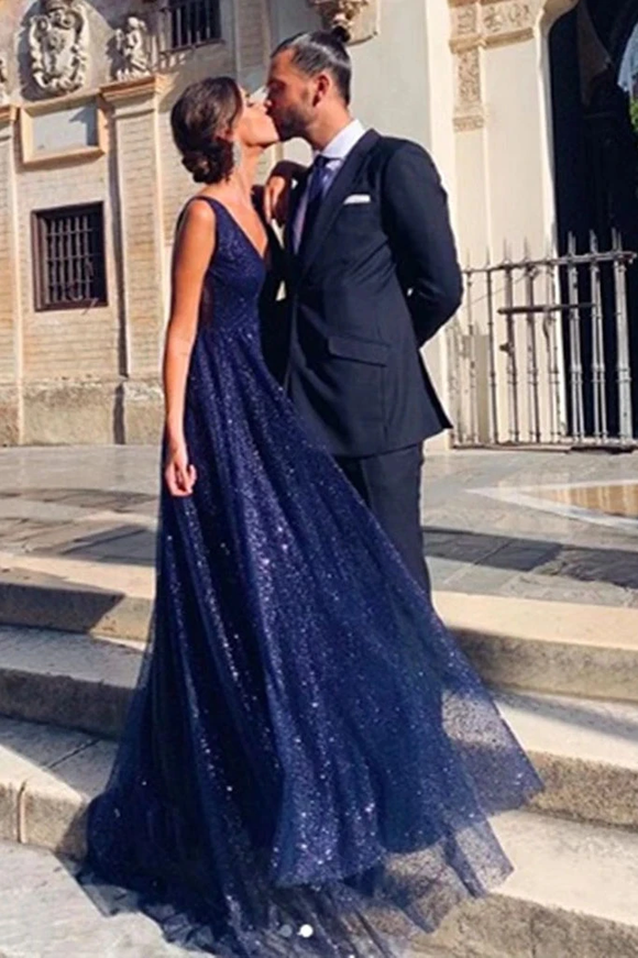 Promfast Shiny A Line V Neck Navy Blue Backless Prom Dresses, V Back Navy Formal Evening Dresses PFP1824