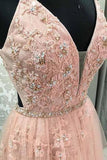 Blush V Neck Prom Dress with Straps, Long Prom Gown with Appliques PFP0494