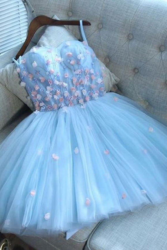 A-Line Sweetheart Short Blue Tulle Homecoming Dress with Appliques PFH0072