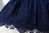 A-line Mini Navy Blue Sleeveless Crew Short Homecoming Dresses With Lace PFH0074