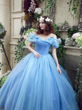 Princess Ball Gown Off Shoulder Blue Long Prom Dress,Quinceanera Dresses PFP0765