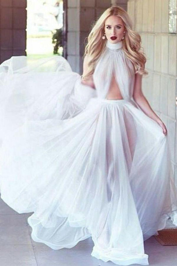 2019 A-line Cheap Long Sexy Simple Ivory High Neck Tulle Prom Dress