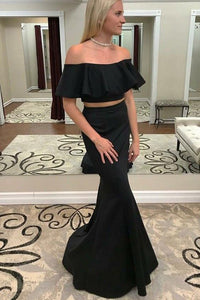 Modest Two Piece Mermaid Off-the-Shoulder Black Prom Dress with Ruffles