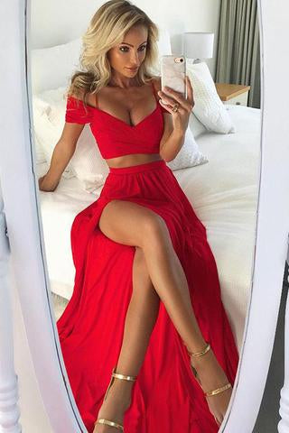 Red Two Pieces Chiffon Long Prom Dress,Sexy Split Evening Dress