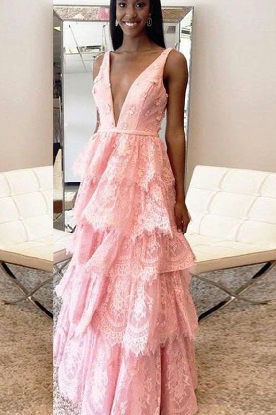 A-Line Deep V-Neck Backless Pink Lace Layered Prom Dress