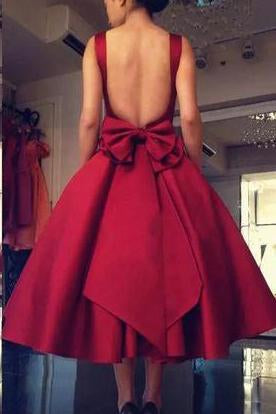 Cheap Burgundy Tea Length A Line Backless Bownot Homecoming Dress