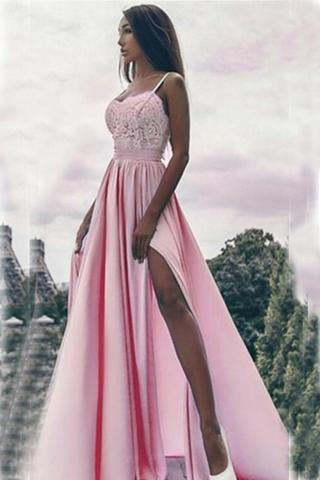 Fashion Pink Split A Line Straps Appliques Occasion Prom Dress