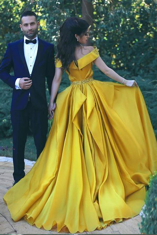 Off the Shoulder 2018 Fashion Formal Yellow Prom Dresses,Sexy Summer Evening Gowns