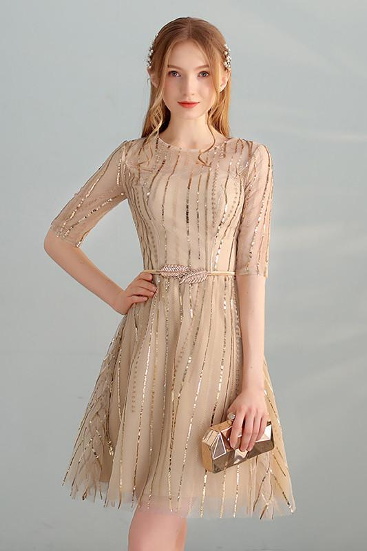 Gold Sequins A Line Short Tulle Half Sleeves Homecoming Dresses PFH0085