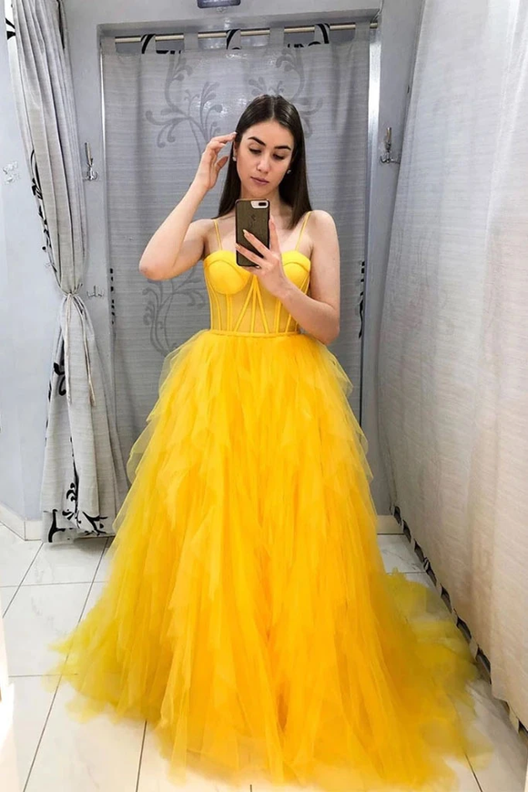 Promfast Yellow Tulle Sweetheart Long Prom Dress With Ruffles Evening Dress PFP1827