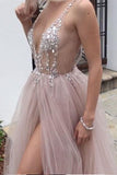 Dusty Pink A Line Tulle Prom Dress, V Neck Long Graduation Dress with Rhinestone PFP0495