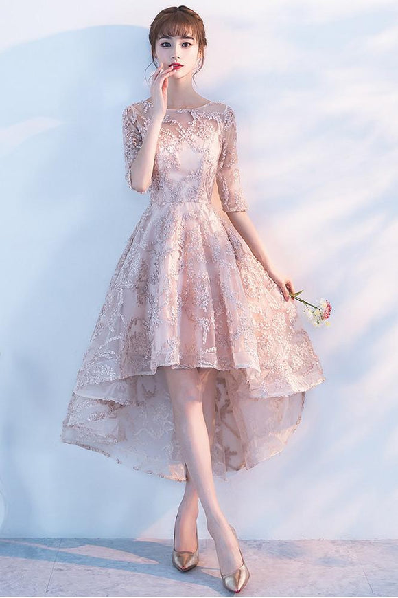 Princess A Line Lace High Low Half Sleeves Homecoming Dresses PFH0087
