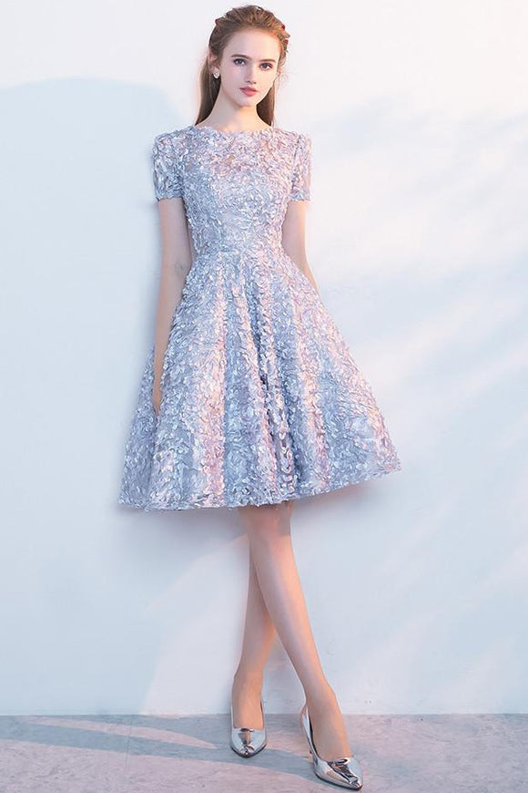 Elegant Lace A Line Short Light Blue Homecoming Dresses PFH0088