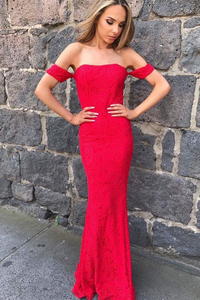 Red Mermaid Sexy Long Strapless Lace Prom Gowns,Off the Shoulder Evening Dress