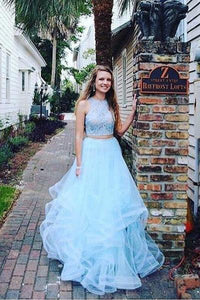 Fashion Two Pieces Light Blue Lace Tulle Ruffles A-line Prom Dress For Teens