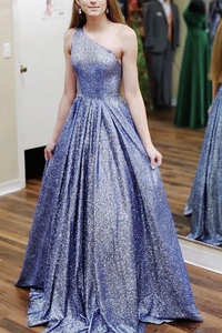 Promfast Blue One Shoulder A Line Long Prom Dress Formal Evening Dress PFP1828