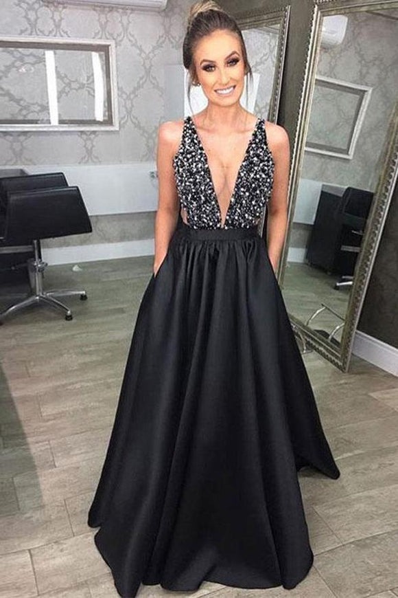 Black Deep V Neck Beading Prom Dress, A Line Evening Dresses With Pockets